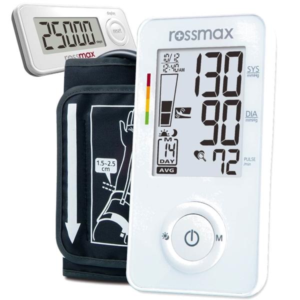 Tonometr pažní AX356fCA Slim + krokoměr PA-S20 Rossmax (Digitální automatický tlakoměr)